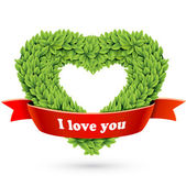 Heart of leaves with red ribbon and text — Stock Vector