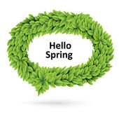 Green spring speech bubble of leaves — Stock Vector