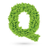 Letter Q of green leaves with shadow — Stock Vector