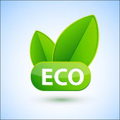 Segno di eco con molla verde foglie — Vettoriale Stock