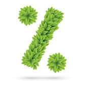 Percent sign of green spring leafs — Vector de stock