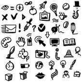 Hand drawing sketch icon set of different objects — Stock Vector