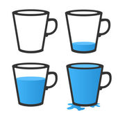 Empty and full mug. Vector illustration — Stock Vector