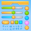Game UI elements.Colorful buttons and icons — Vector de stock