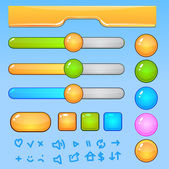 Game UI elements.Colorful buttons and icons — Stock Vector
