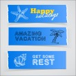 Set of blue banners vacation sketch illustrations — Stock Vector