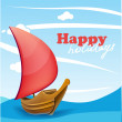 Stock Vector: Sail boat on sunny seaside background