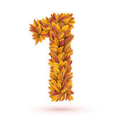Hojas de otoño otoño naranja brillante número — Vector de stock