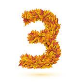 Automne automne orange vif laisse numéro — Vecteur