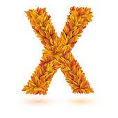 Automne chute des feuilles orange brillant lettre — Vecteur
