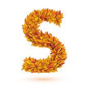 Autumn fall bright orange leaves letter — Stock Vector