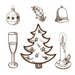 Christmas and New Year objects collection — Imagen vectorial