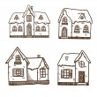 Christmas and New Year objects collection. Winter cute houses — Vector de stock  #33827507