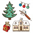 Christmas and New Year objects collection. — Stock Vector