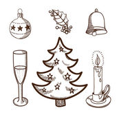 Christmas and New Year objects collection — Vettoriale Stock