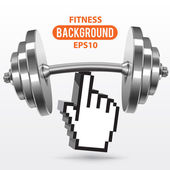 Fitness background with metal realistic dumbbell — Stock Vector