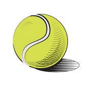 Balle de tennis isolé sur blanc. — Vecteur