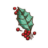 Holly berries and leaf — Vetorial Stock