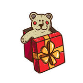 Present box with teddy bear — Stock Vector