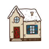 Winter cute house. — Stock Vector
