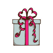 Present box with ribbon and bow. — Vector de stock