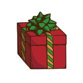 Caja de regalo con cinta y arco. — Vector de stock
