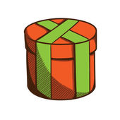 Present box with ribbon and bow. — Stockvector