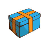 Present box with ribbon and bow. — Stock vektor