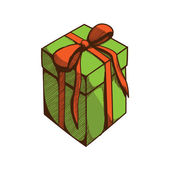 Present box with ribbon and bow. — Wektor stockowy