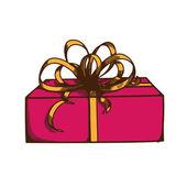 Nuvarande låda med band och rosett. — Stockvektor