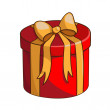 Present box with ribbon and bow. — Stock Vector