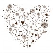 Hearts bubbles and tunes in a silhouette of heart. — Stock Vector