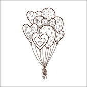 Heart air balloons batch. — Stock Vector