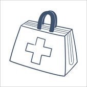 Doctor's first aid kit isolated on white. — Stock Vector