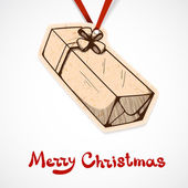 Present box paper label. Christmas and New year design element — ストックベクタ