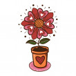 Flower with hearts in a pot. — Stock Vector