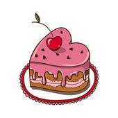 Sweet heart cake isolated on white. — Stock Vector