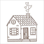 Cute house with hearts. — Stock Vector