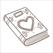 Book with decorative heart — Stock Vector