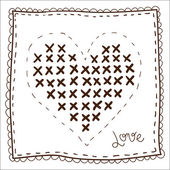 Handkerchief with embroidery heart — Stock Vector
