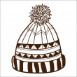 Knitted cap isolated on white. — Stock Vector