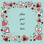 Marco de corazones. concepto de tarjetas de felicitación. — Vector de stock