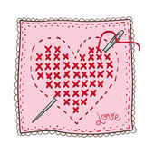 Handkerchief with heart embroidery. — Stock Vector