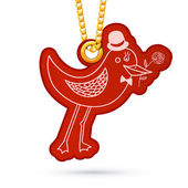Bird with rose. Label tag hanging on golden chain. — Vecteur