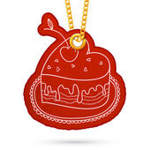 Heart shaped cake. Label tag hanging on golden chain. — Stock Vector
