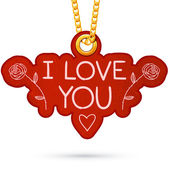 I love you text. Label tag hanging on golden chain. — Stock Vector