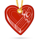 Heart shaped present box. Label tag hanging on golden chain. — Stock Vector