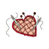 Pin cushion in a heart shape. — Stock Vector