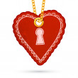 Heart with keyhole. Label tag hanging on golden chain. — Stock Vector