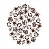 Flores abstractas gráficas. — Vector de stock